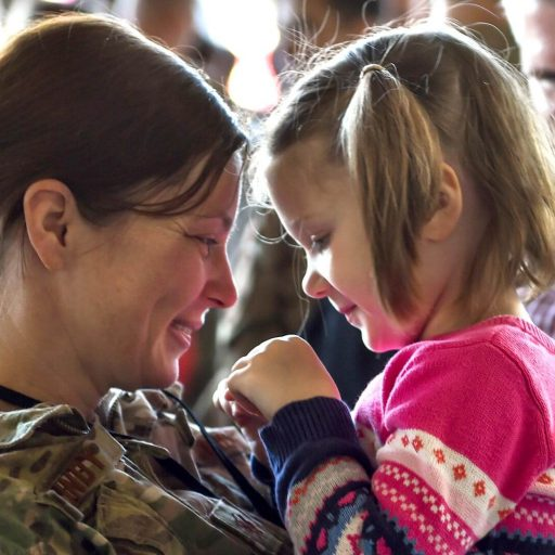 Soldier and her daughter