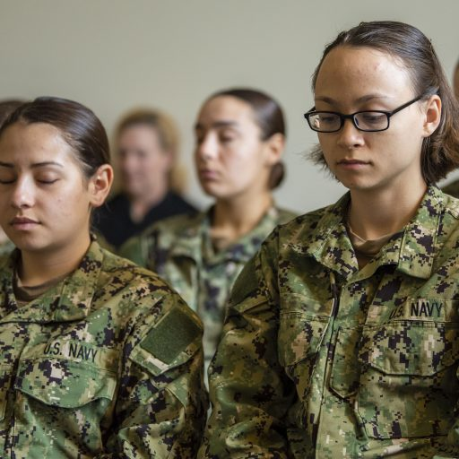 Soldiers practicing mindfulness and meditation